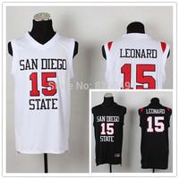 Free Shipping #15 Kawhi Leonard Jersey San Diego State University Black White SDSU College Basketball Jersey,Can Mix Order