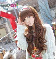 Free shipping wig \ female scroll fluffy oblique Liu Qi volume \ matt long straight hair