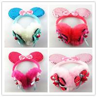 wholesale 6pcs/lot  2014 Hot Brand girls earmuffs Cartoon mouse flowers Warm Baby Kids Girl Winter Ear Muff Earcap Protection