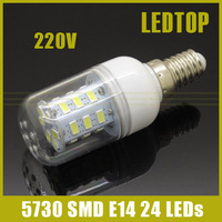 NEW High Quality LED lamp E14 9W 24LEDs High Brightness 5730SMD AC 220V Bulb Energy Saving LEDS light New Year