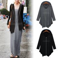 2014 New Fashion Women irregular Zip Long Hoodie Casual Jacket Coat cape plus size 2 color
