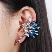 2015 New Vintage Luxury Rhinestone Butterfly Ear Cuff Stud Earrings Fashion Jewelry For Women Hot Accessories