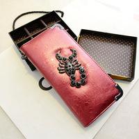 2014 PU handbags new Korean wave packet personality Scorpion clutch purse fashion leisure long Wallet wholesale/woman Bag120611