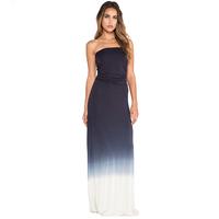 Women Dress Fashion Gradient Printed Sleeveless Backless Slim Floor-Length Sexy Strapless Dress Six Size Plus Size D543