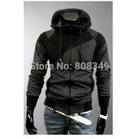 Korean style Men's slim fit 2 tone colors long sleeves jacket with hood