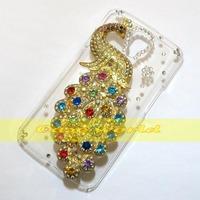 1 Pcs Handmade 3D Bling Pretty Peacock Clear Hard back case For LG F70 D315
