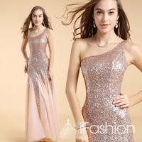 Sexy one shoulder shining fashionable  floor length mermaid evening dresses 2014 vestido de festa longo LF8