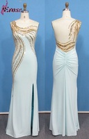 ADE-179 High Quality Mermaid/Trumpet Split Front Back See-through Sequined Real Arabic Evening Dress Gown 2015