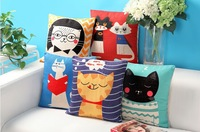 Free shipping 18''X18''  The cat class Lovely American pastoral cotton and linen sofa office cushion pillow cover