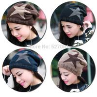 New Winter 2014 Korean Men  Women Double Fur  Warm Pentaggram Skullies Beanies Outdoor Sports Ski Hat Hot !