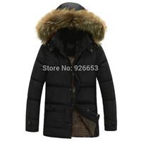 New 2014 Winter Mens Fashion Detachable Cap Zipper Outwear Fur Collar Hooded Long Jacket Warm Coat Size L XL XXL High Quality