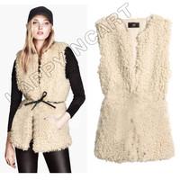 Winter Fashion Women Faux Lambs Wool Fur Waistcoat Slim Long Shaggy Hair Vest Casual Warm Coat Lammfellweste Jacket BYF476
