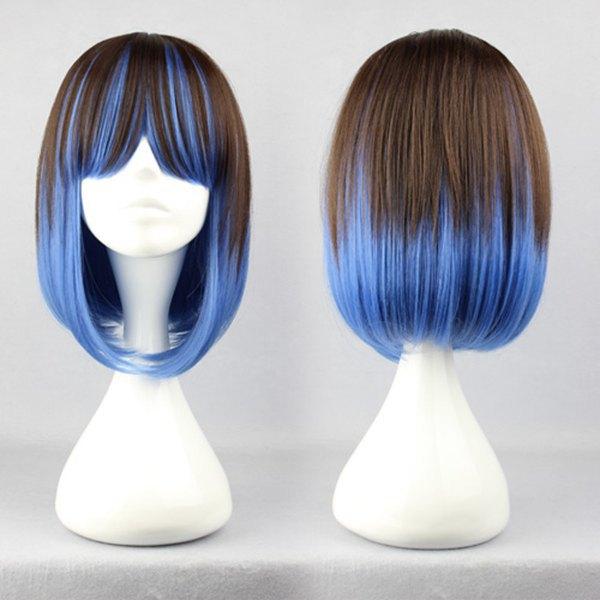 Muito bonito Bob corte de cabelo resistente ao calor azul e preto misturado mulheres meninas Lolita peruca(China (Mainland))