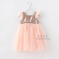 New 2014 Children's Dress Girls Sequins Princess Fly Sleeve Korean Fashion Kid Dresses Tulle Tiered Tutu Dress B006