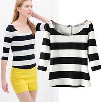 2015 European Style Women T-shirt O-neck Half Sleeve High Elastic Slim Striped  Summer Shirt Famous Brand Tops Blouse CL2240