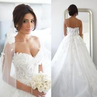 vestido de noiva 2015 Elegant Sweetheart Tulle Appliques Lace A Line Princess Wedding Dresses Bridal Gown Bride Dresses ZY018