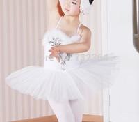 Free shipping girls children white swan ballet leotard beading feather decoration dance stage performance dress