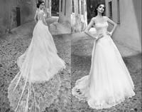 New Arrival Romantic Appliques Lace A Line Wedding Dresses 2015 Long Train Bridal Dresses Vestidos De Noiva Wedding&event ZY4077