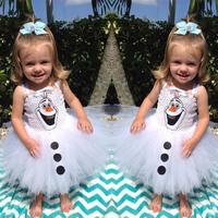 Olaf Tutu dress for little girls Kids Frozen Fancy dress Halloween carnival party costume dress free shipping