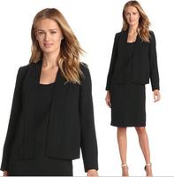 New Designer 2014 Autumn and Winter Formal Black Blazer Women Skirt Suits Work Wear Sets Ladies Brand Office Uniform Clothes XXL