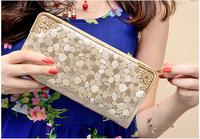 2014 new style famous brand wallet women purse stone grain gold silver black color PU leather wallets money clip