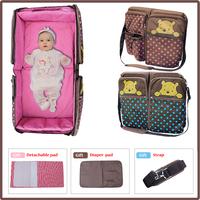 2015 Lovely bear Portable newborn infant nappy bag folding easy bed mummy nappy bag baby travel Nursery bag