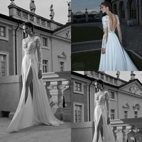 2014 Sexy A-line V-neck Open Back Silt Appliques Chiffon White Prom Dresses Lace Long Sleeves Lace Wedding Dresses zy4000