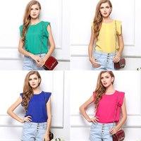 2015 New Casual Women's Chiffon Shirt Summer O- Neck Candy Colors Chiffon Blouse Shirt Short Sleeved T-Shirt Blusas Femininas