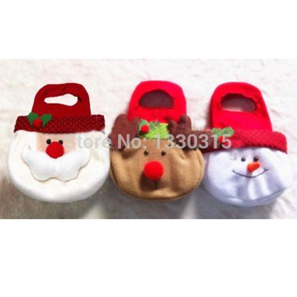 Adorable Christmas Candy Gift Bag Decor Reindeer Snowman Santa Claus Shape Gift UT02(China (Mainland))
