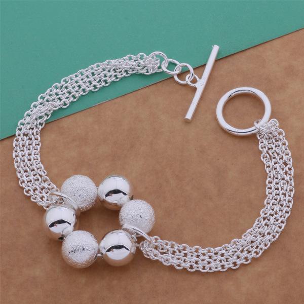 925 silver bracelet , silver plated beads Korean fashion circle O light sand fringed bracelet Yin US trade jewelry wholesale(China (Mainland))