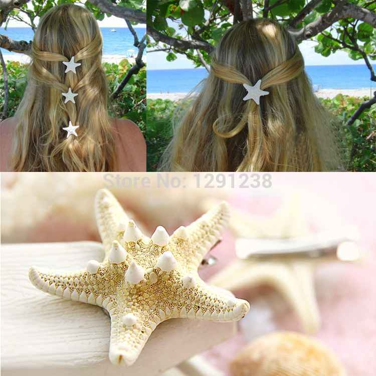 Hot new 1pcs starfish hair pin sea star hairclip hair accessories asteroid hair jewelry Natural sea star clip pictures Pd4P0(China (Mainland))