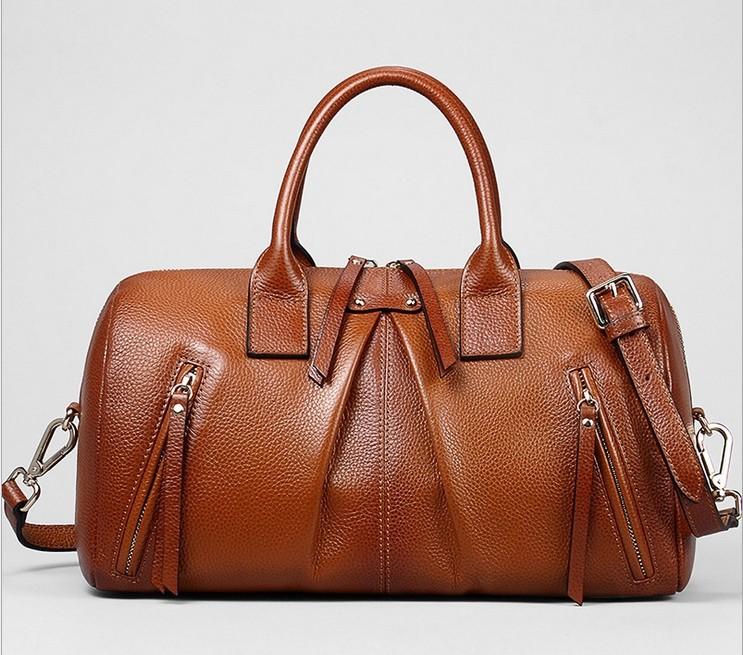 2015 New Fashion Women Designer vintage genuine leather satchels tote business Shoulder bags Handbag Detachable handle brown(China (Mainland))