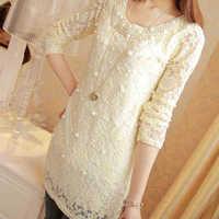 2014 Autumn and Winter temperament pearl lace long-sleeved chiffon shirt female Korean women cultivating wild chiffon blouse