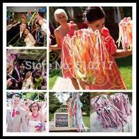 wedding 3 ribbon wand with bell wedding confetti stream ribbon sticks magic wands fairy stick wedding party decoration