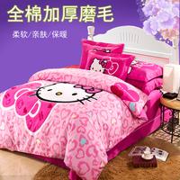 Sanded four piece set 100% cotton thickening winter thermal 100% cotton cartoon princess child three piece set bedding