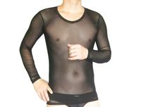 Male sleep tops transparent silk viscose long-sleeve mens tops sex lingerie for men V neck nightshirts underwear man