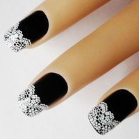 XF French 3D Nail Decals Lace Floral Nail Art Decorations 15Pcs/sheet White Nail Stickers