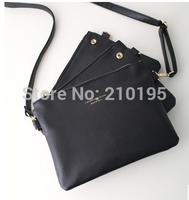women fashion shoulder bag european style handbag three in one zipper envelop  bag black small  free shipping