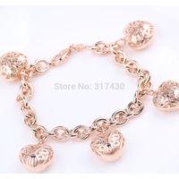 Fashion Design 18k Rose gold filled Women's Bracelet With Heart GF jewelry