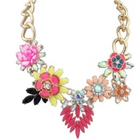 Hot Sale Colorful Crystal Flower Vintage Choker Statement Necklaces & Pendants Fashion Jewelry Drop Shipping