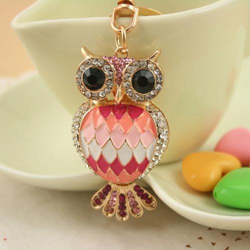 Fashion Crystal Keychain Rhinestone handbag OWL keyring fashion Holder for Women Girl Jewelry Purse Charm Pendant PWK0089(China (Mainland))