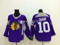 Stitched Free Shipping men's Hockey Jersey Chicago Blackhawks 10 Patrick Sharp Hockey Jersey Embroidery Logos Jersey