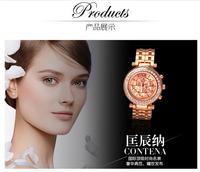 Latest Design Fashion Geneva Watch Women Rhinestone Watches Rose Gold Roman Dial Quartz Wristwatches Relogio Feminino Dourado