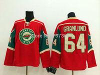 Cheap Free Shipping men's Hockey Jersey Minnesota Wild #64 Mikael Granlund Hockey Jersey Embroidery Logos Jersey