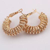 Huge Hoop earrings 18K yellow Gold Filled Dusty Conch -shaped Round Buckle Earrings middle size 30mm Jewelry