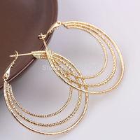 Fashion Huge Hoop earrings 18K yellow Gold Filled Women's Or Men's  Three layers earrings GF Jewelry