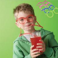 5Pcs/lot Free Shipping Novelty Items Amazing Silly Multi-colors Boy Girls Children Glasses Drinking Straw Eyeglass Frames