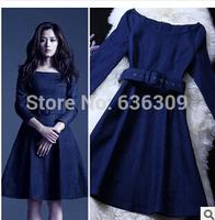 2014 New Arrival Autumn Winter Fashion Denim Dress Europe America Denim Dress With Sashes Denim Dress