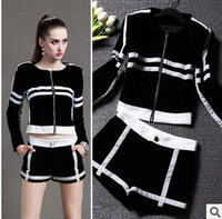 2014 New Arrival Europe America Black And White Contrast Color Women's Suits Gentlewoman Fashion Slim Casual  Sport Suits