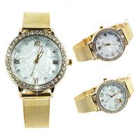 New Luxury Women's Ladies Golden Bling Rhinestone Round Analog Quartz Wrist Watches